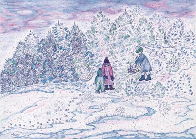 Harehop i sne