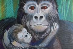 ill gorilla mor og barn