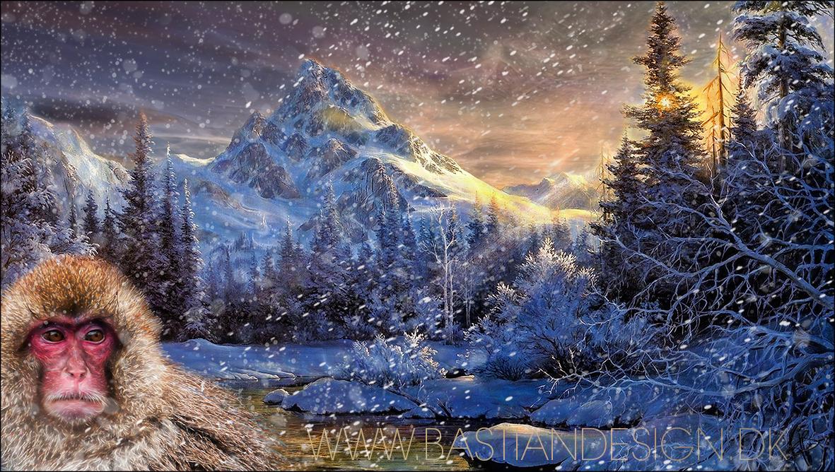 Snowmonkey in mountains