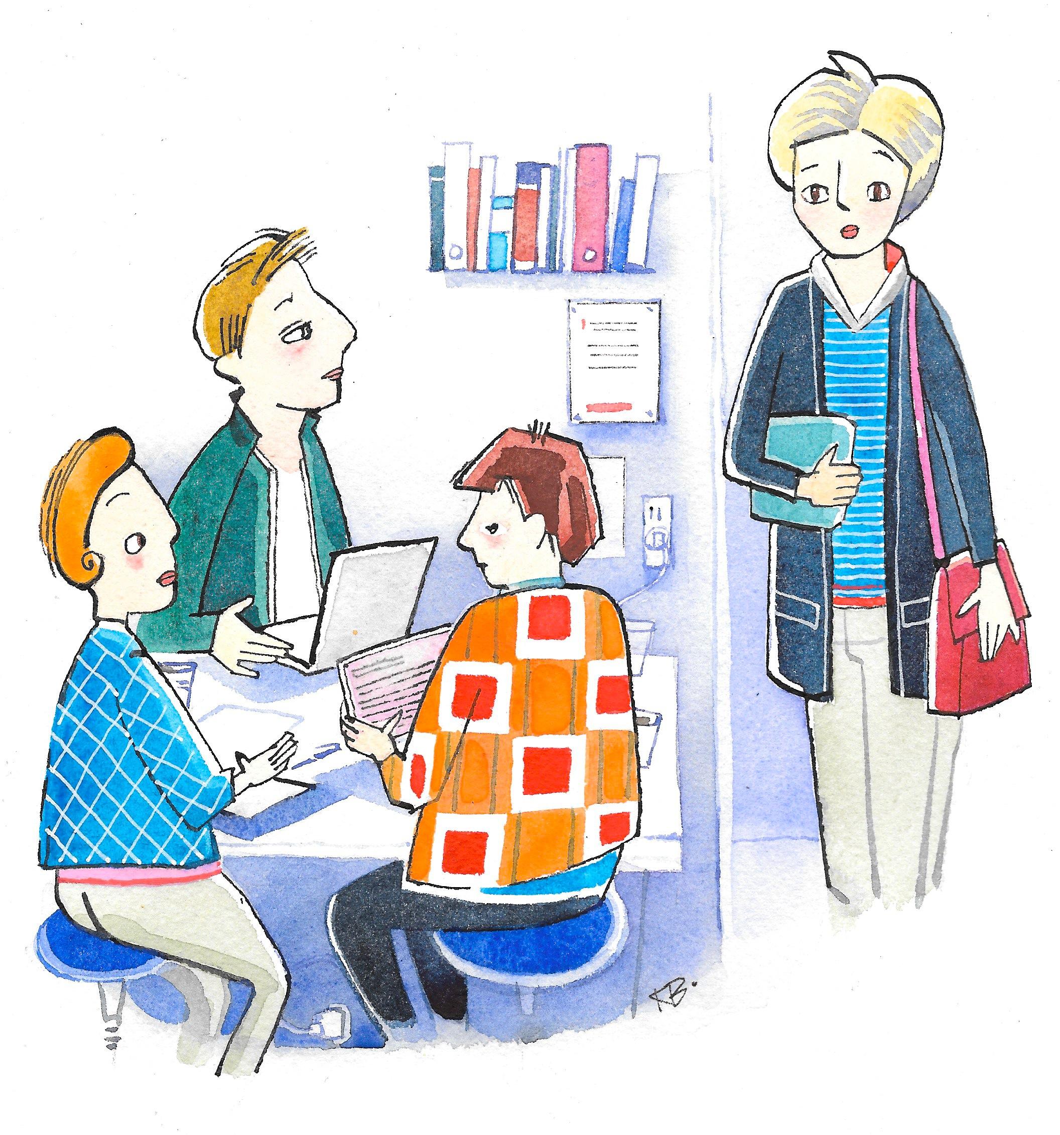 Gruppearbejde.Bladtegning.. Karen Borch