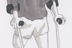 Mand med krykker kopi