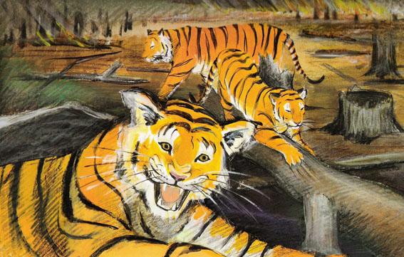 ill tigre i brændt landskab