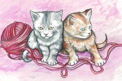ill kattekillinger i lyserød
